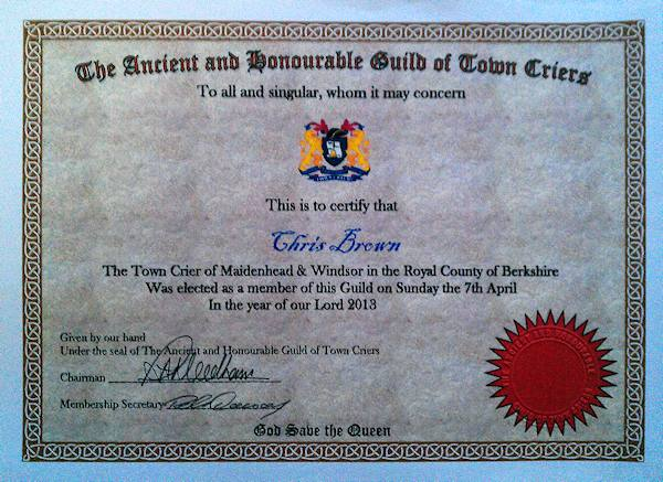 town criers guild certification