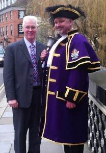 Chris Brown in new RBWM town crier livery with tailor David Coulthard
