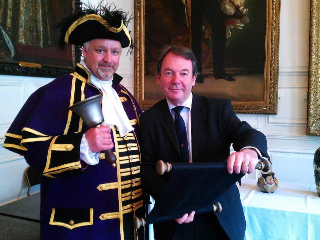 Celebrity antiques expert Eric Knowles and RBWM Town Crier Chris Brown