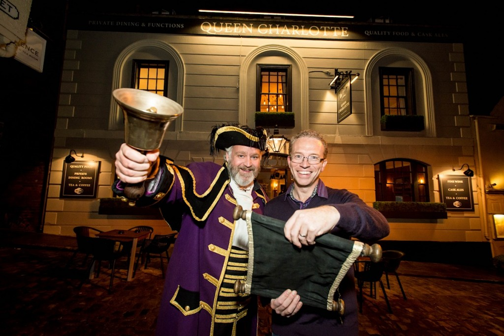 Town crier and John Perry, landlord