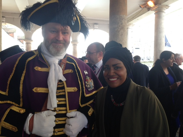 nadiya Hussein with Windsor town crier Chris Brown